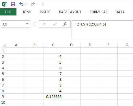 Screenshot of Excel spreadsheet with ZTest function.